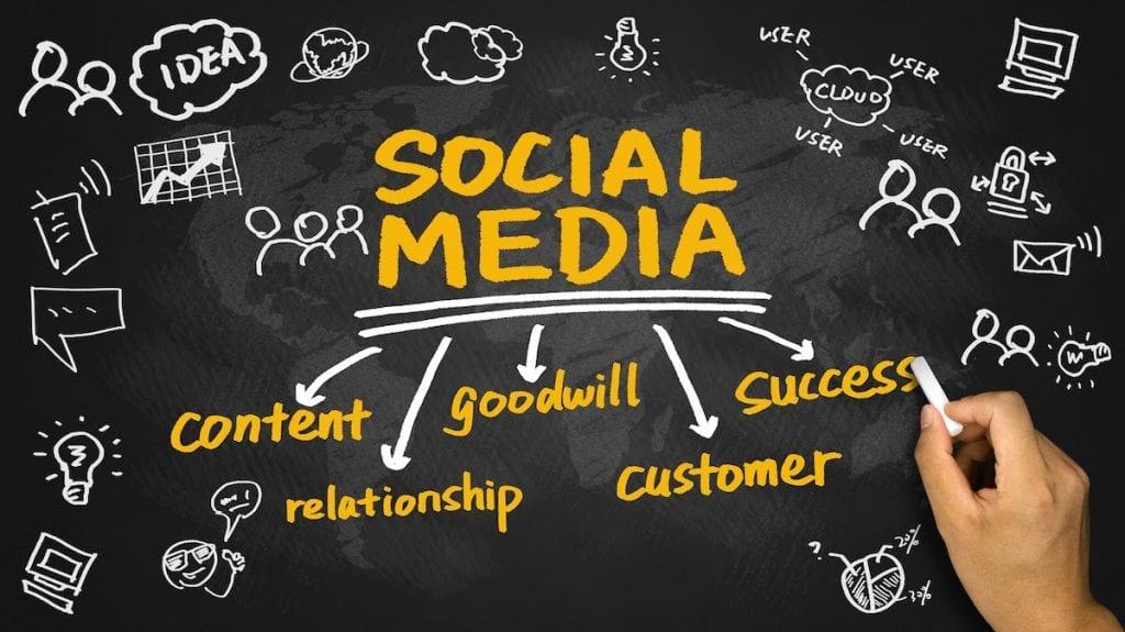 social media concept diagram hand drawing on blackboard