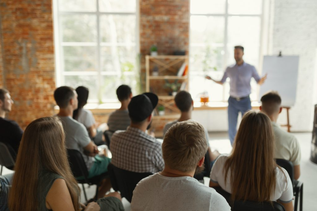 Give a presentation to a group